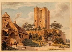 La tour vers 1780, vue depuis la place de l'église, dessin de Tavernier De Jonquières.