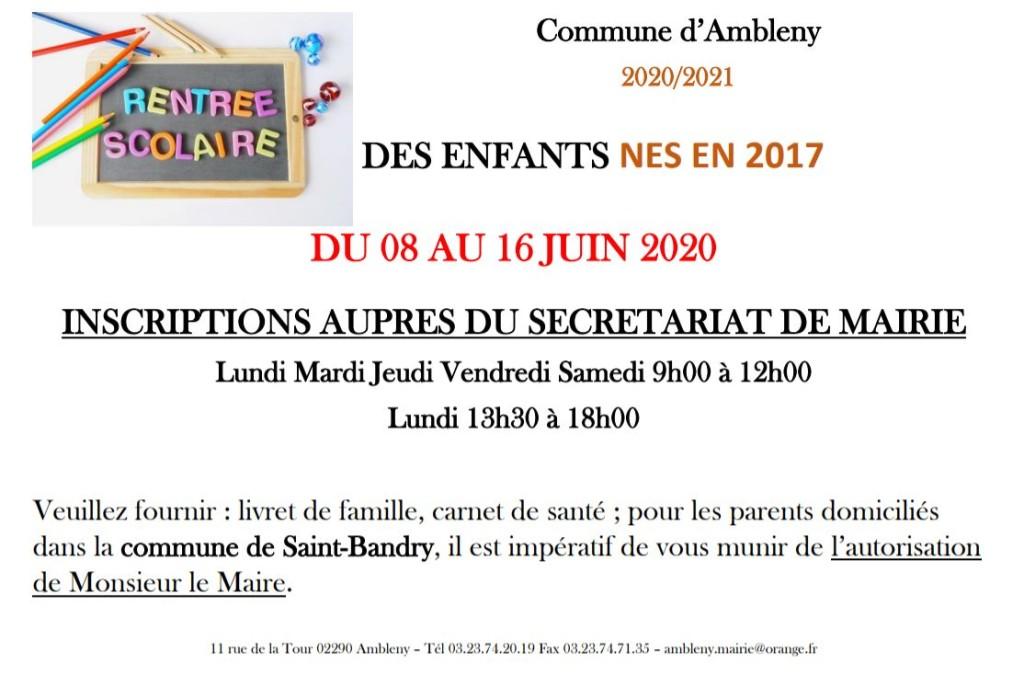 InscriptionScolaire-2020